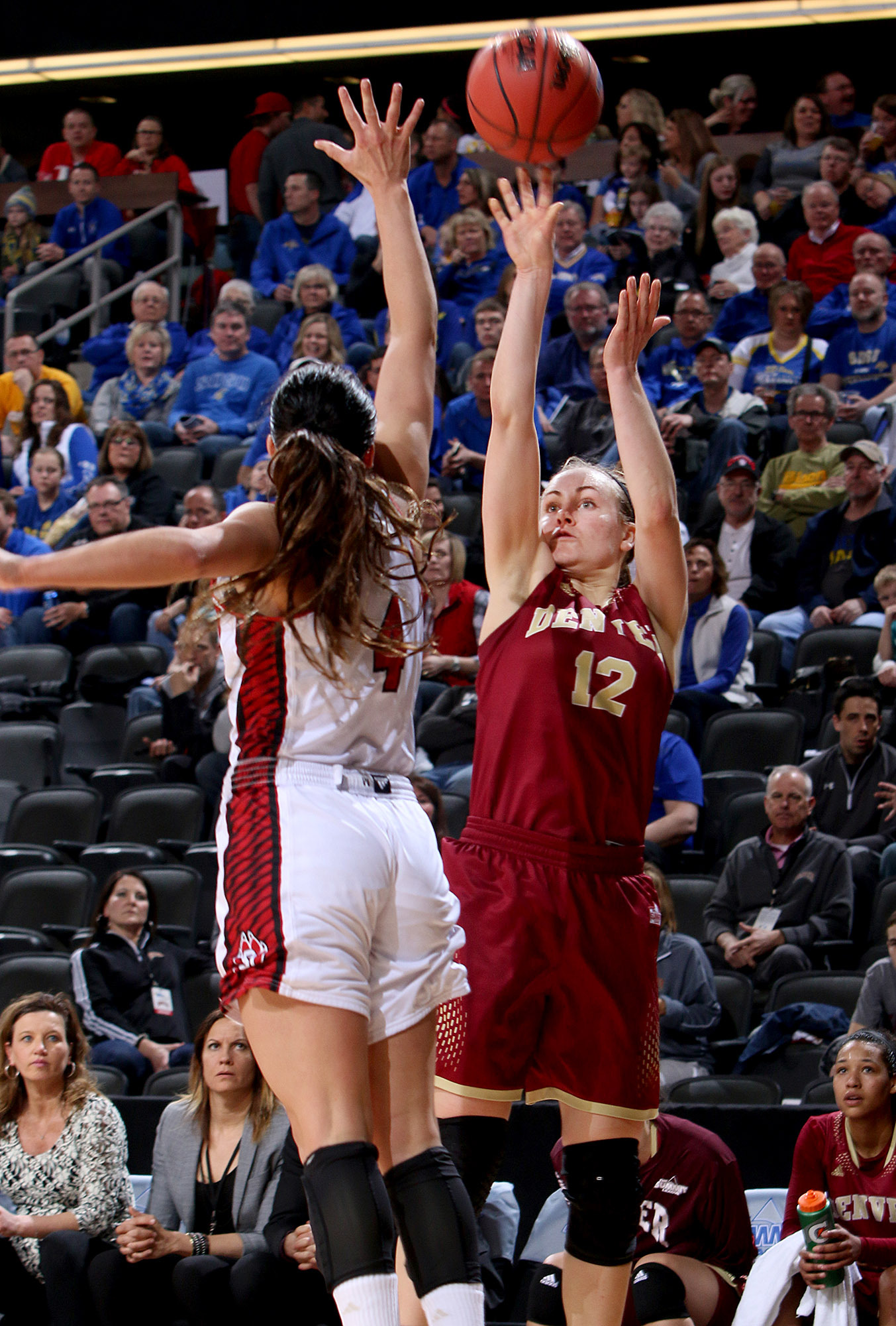 Jacqlyn Poss gets a shot off over a USD defender on Saturday