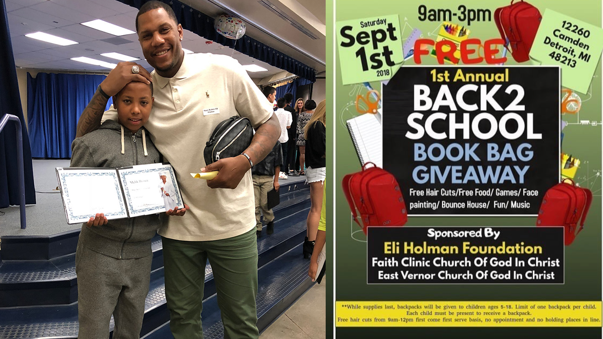 Eli Holman To Hold Back 2 School Book Bag Giveaway This Saay Detroit Mercy Athletics
