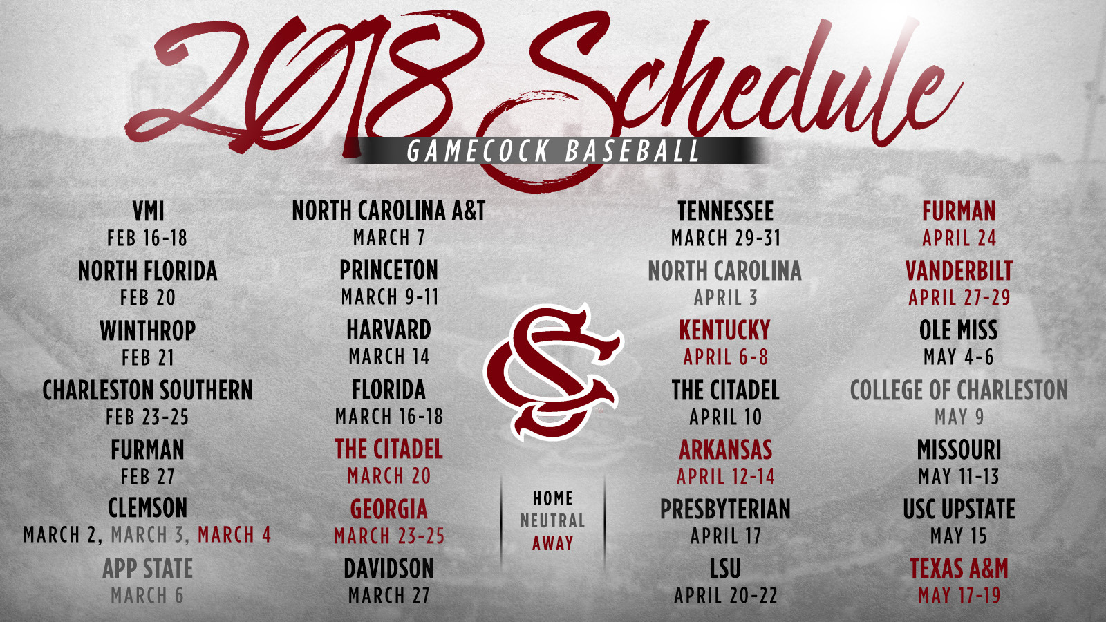 baseball announces 2018 schedule - university of south carolina