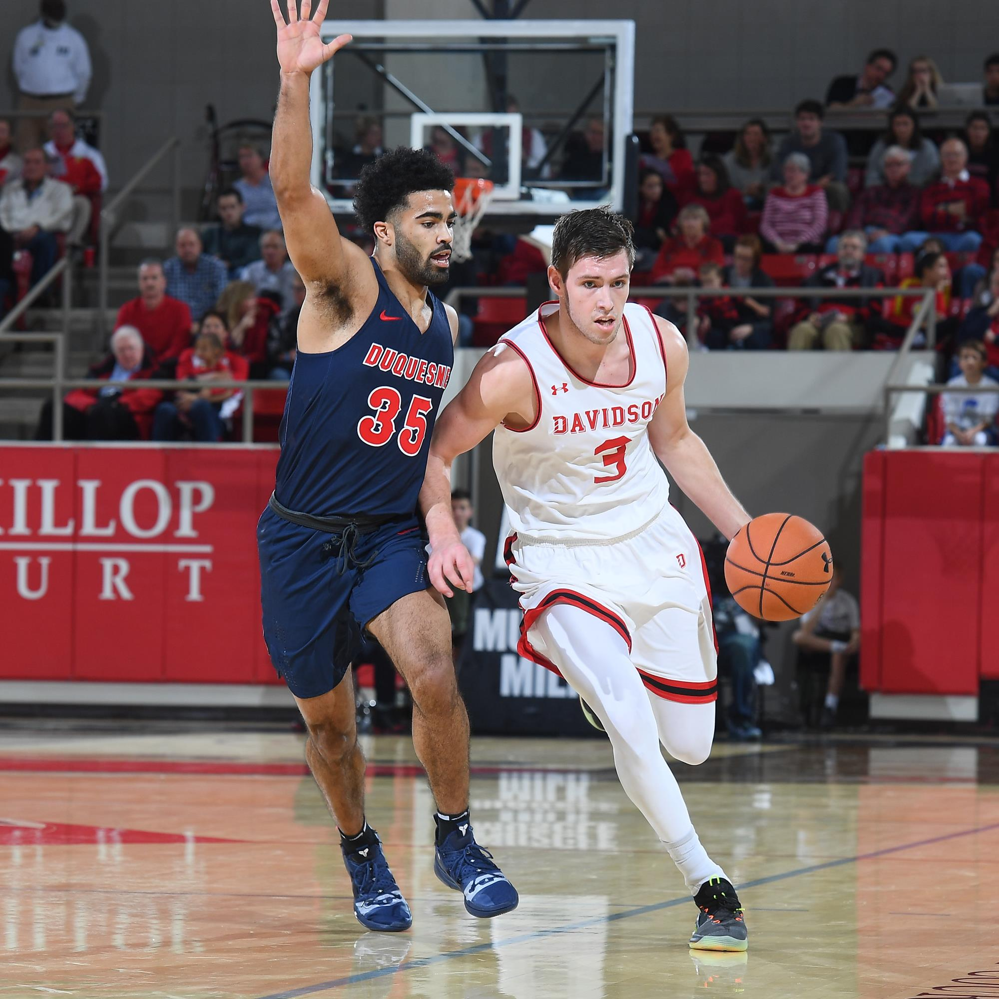 early in first half A-10 men's basketball action at Belk Arena on Saturday, January 05, 2019 in Davidson, North Carolina.