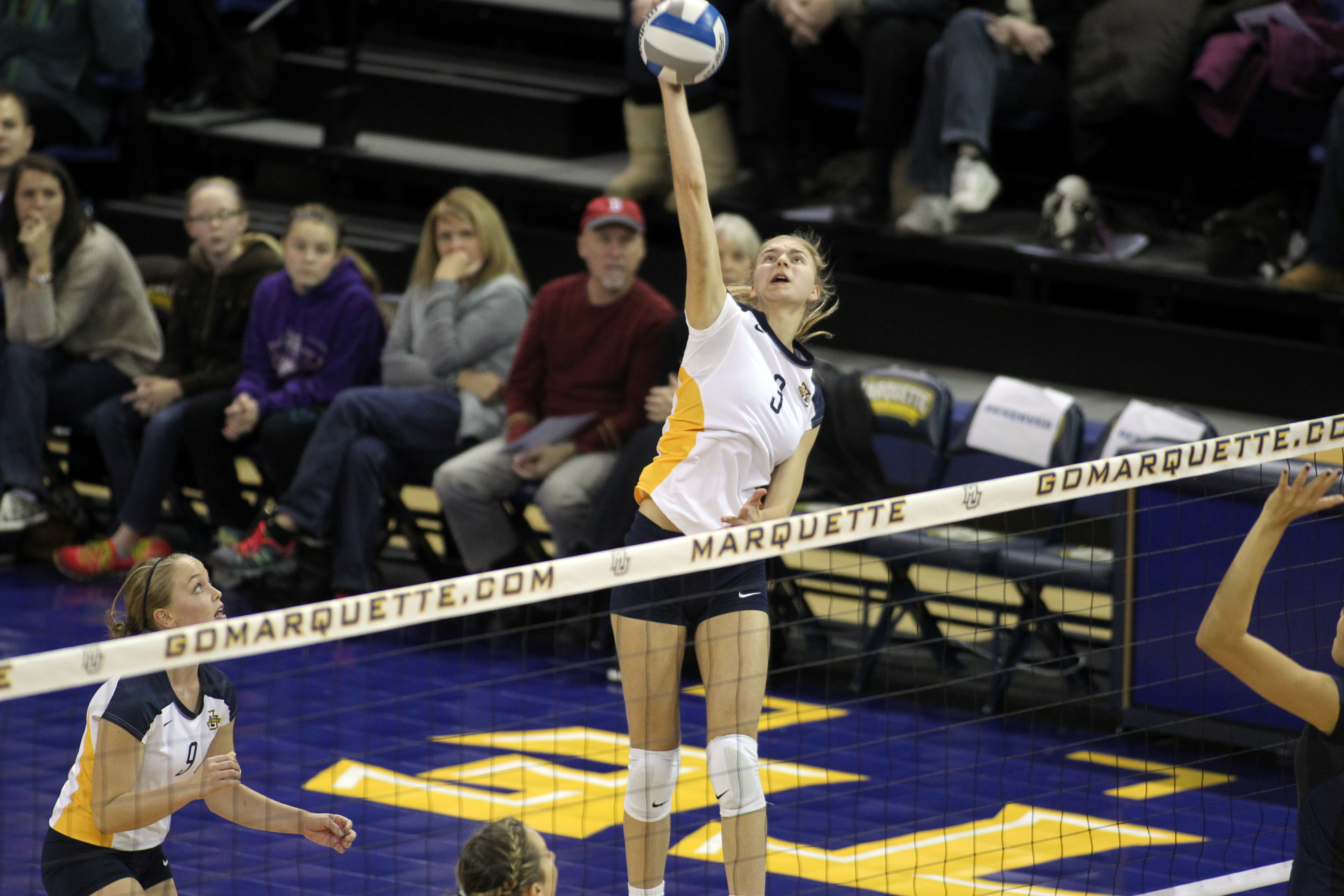 Nele Barber posted 18 kills and hit .500 as MU advanced to its second straight title contest.