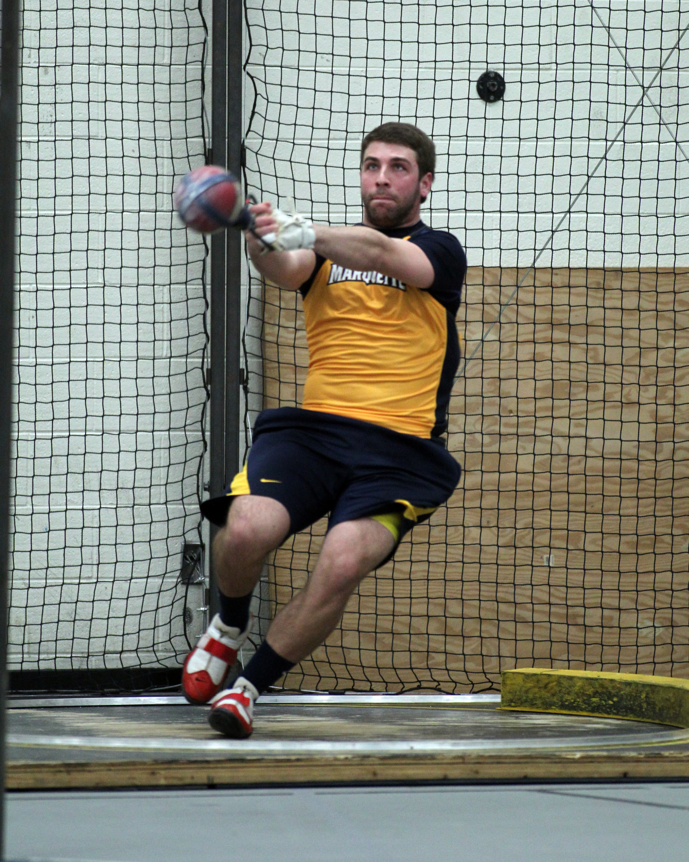 Bret Hardin won the weight throw at Milwaukee.