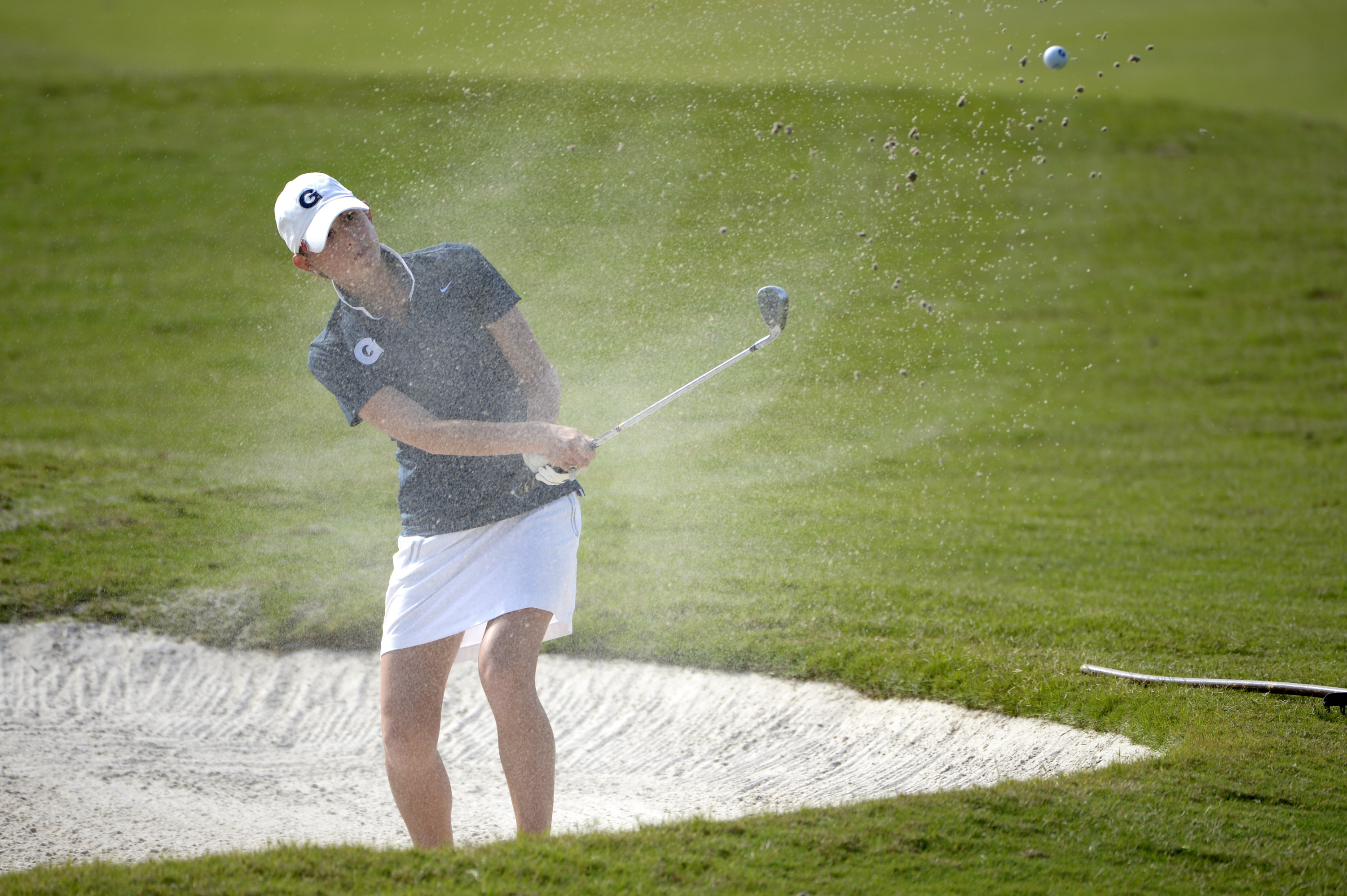 Two Georgetown University women's golfers are among the top-20 overall as the Hoyas shot a 27-over par 315 in the first round and stand in eighth place after the first day of play at the William & Mary Invitational, being held at the Kingsmill Resort in Williamsburg, Va.