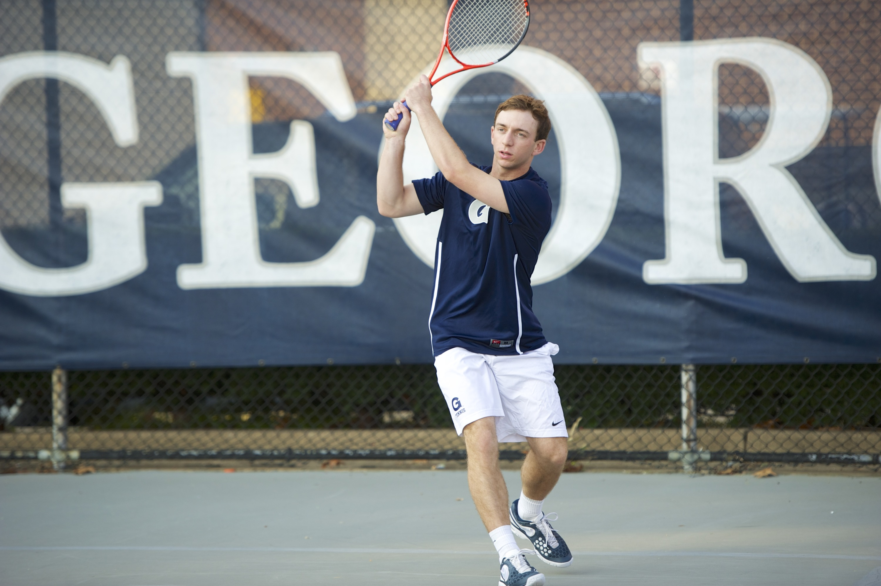 <b> Daniel Khanin picked up his fourth singles win from the No. 1 position in 2014 for the Hoyas.</b>