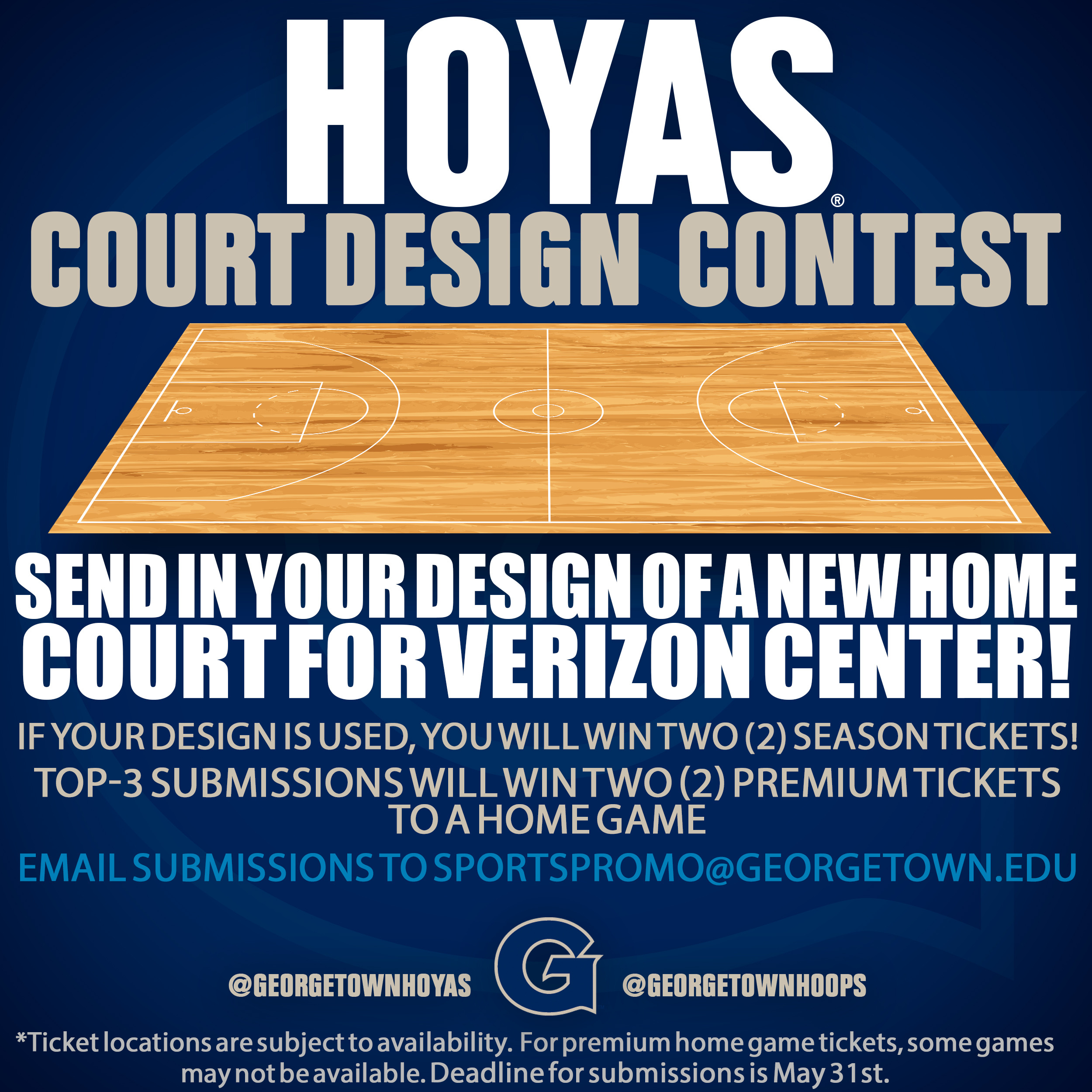 Georgetown Athletics is holding a design contest for a new paint job for its home court at Verizon Center. Fans can submit their own designs for a change to win some great prizes from the Hoyas.
