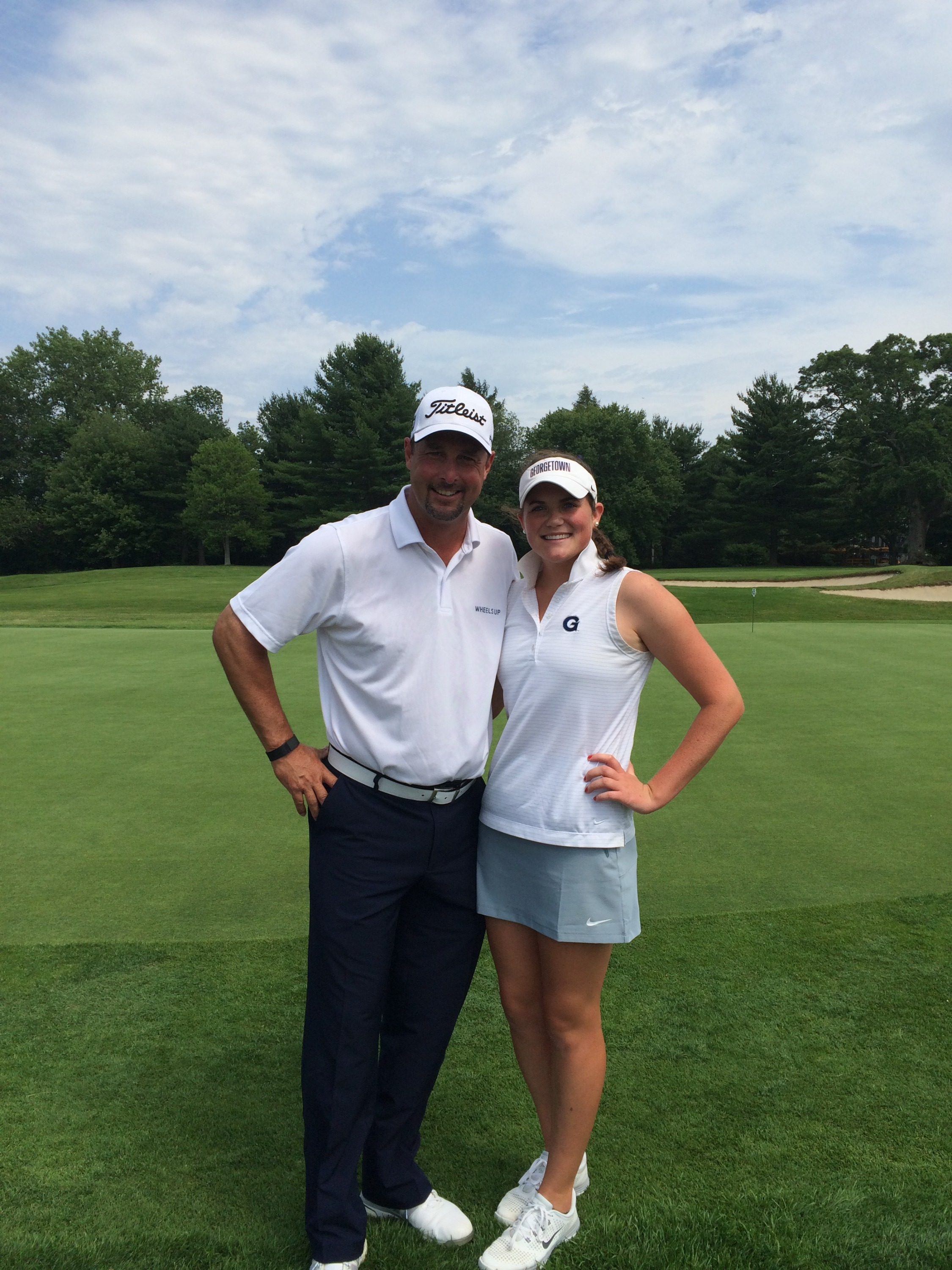 Georgetown sophomore golfer Jacquelyn Eleey with Boston Red Sox legend Tim Wakefield.