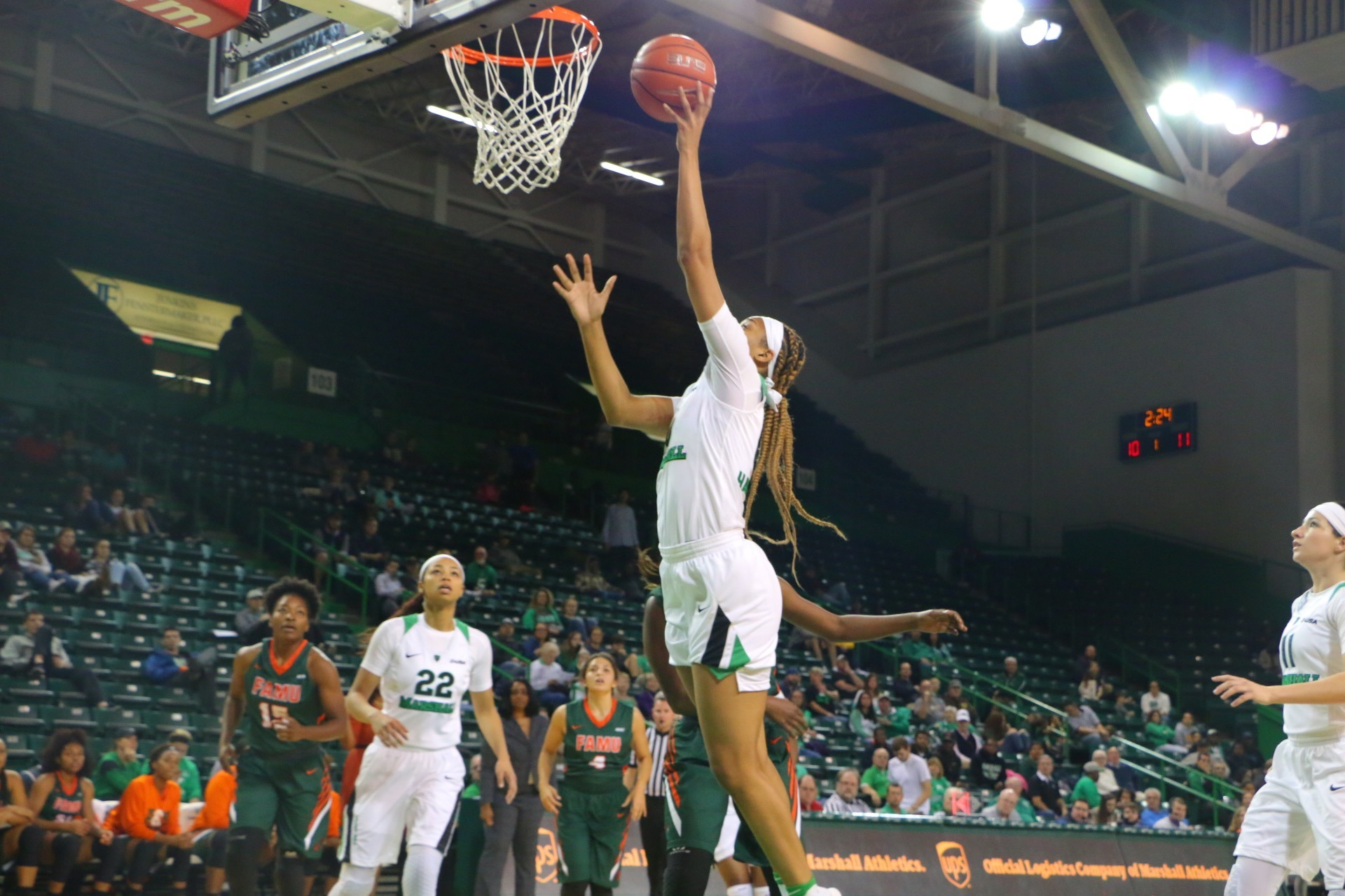 Redshirt senior Talequia Hamilton recorded 10 rebounds and nine points at UNC.