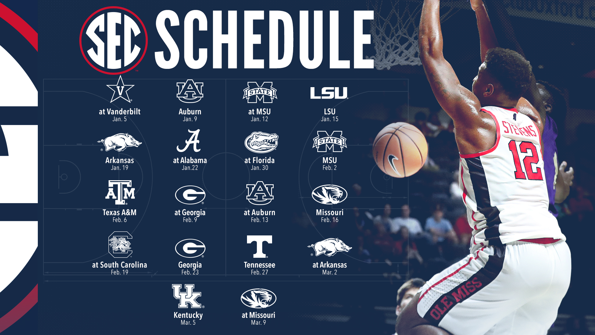 sec releases men s basketball conference schedule ole miss athletics