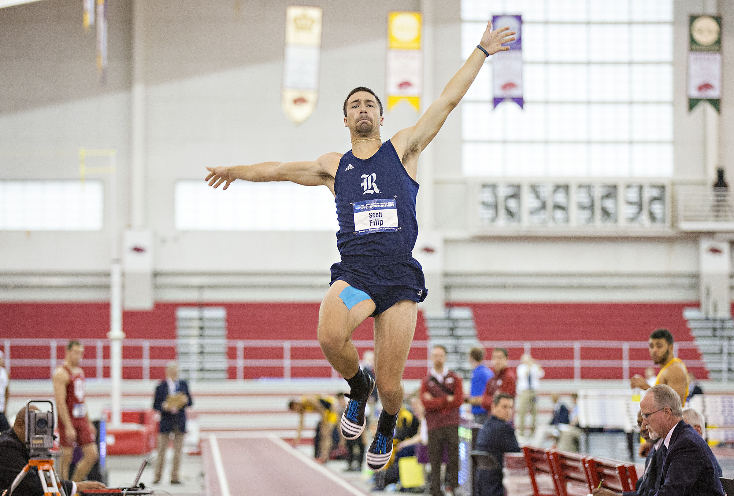 Scott Filip is in fifth place in the heptathlon at the NCAA Indoor Championships.