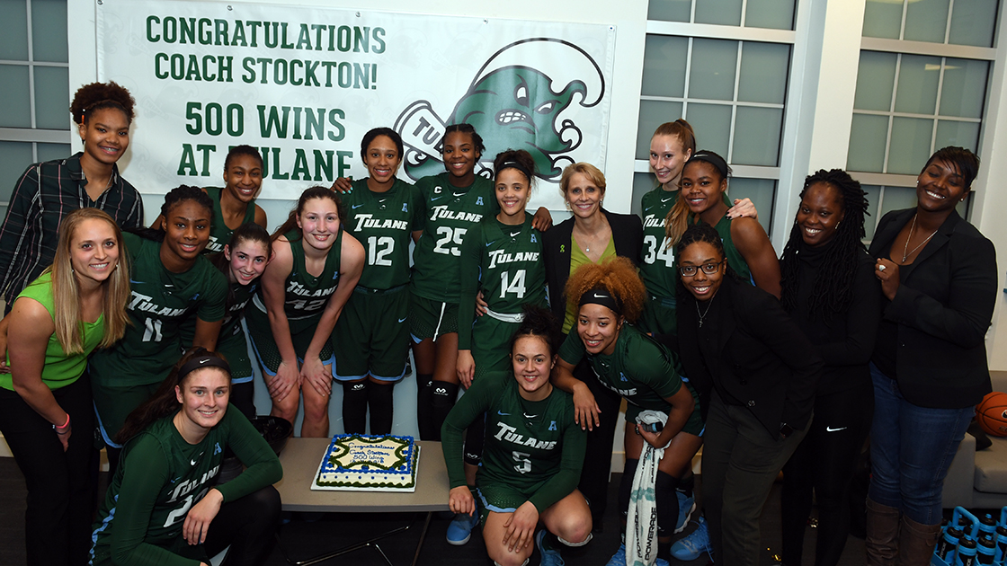 With a 71-46 victory over Nicholls, Stockton earned her 500th win as Tulane's head coach.
