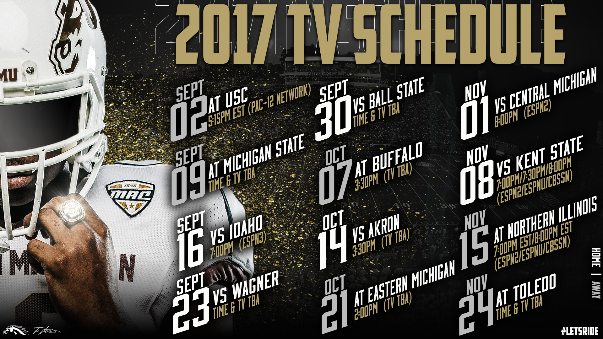 football has portion of game times announced for 2017 - western