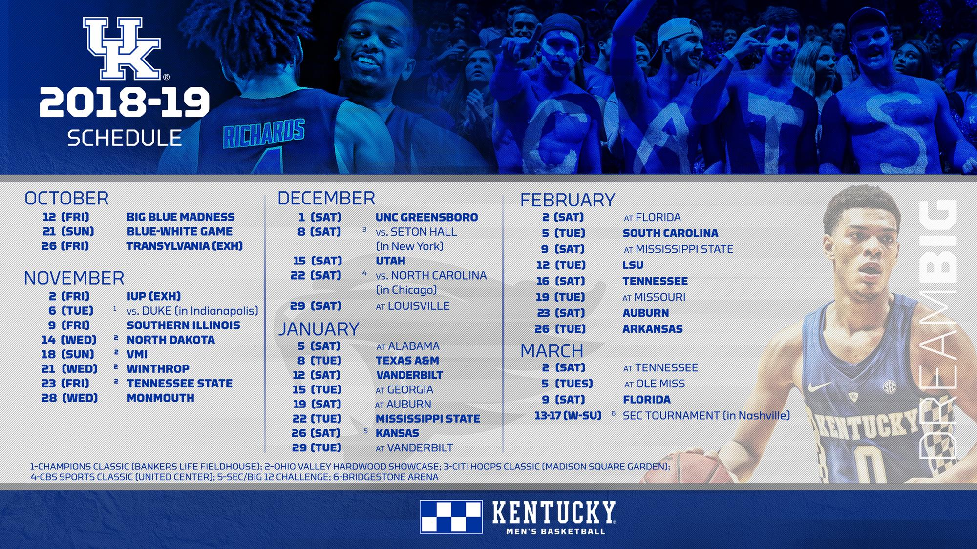 It is a picture of Influential Kentucky Basketball Schedule Printable