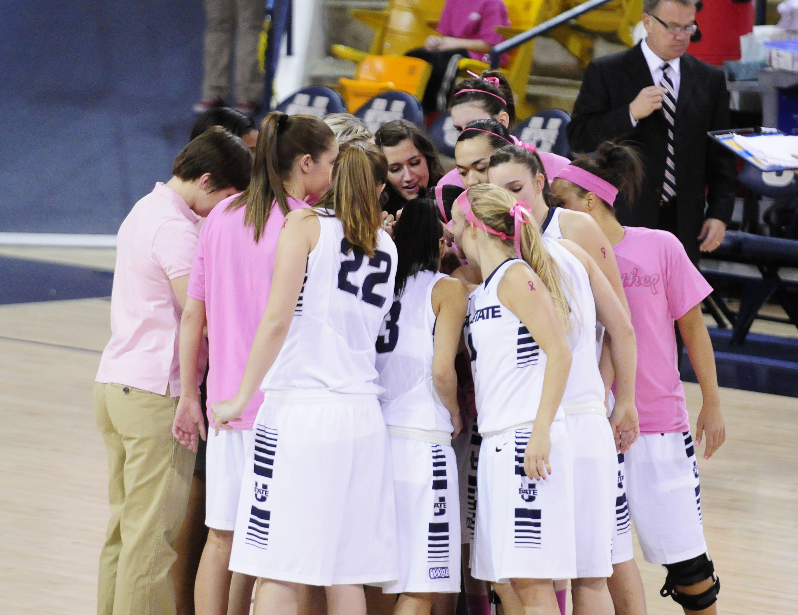 The 2013-14 USU women's basketball team begins action in an exhibition against Northwest Nazerene on Tuesday.
